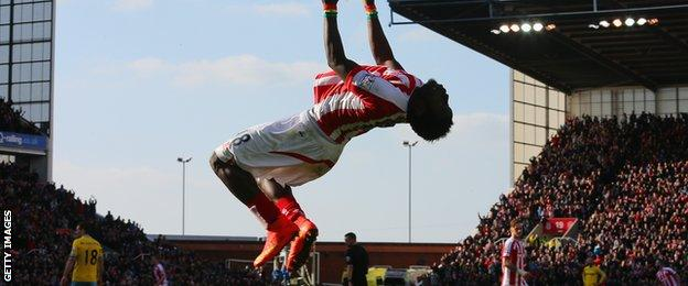 Mame Diouf celebrates for Stoke