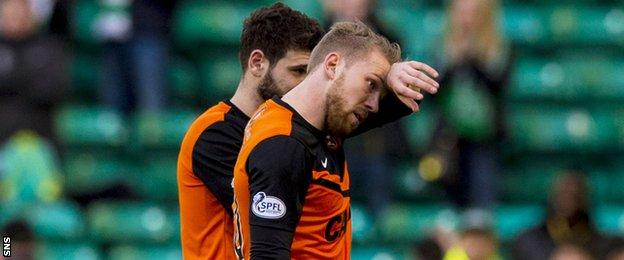 Dundee United players Nadir Ciftci and Henri Anier