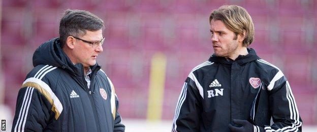 Craig Levein (left) took responsibility for the appointment of head coach Robbie Neilson