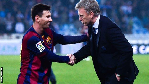 David Moyes and Barcelona's Lionel Messi
