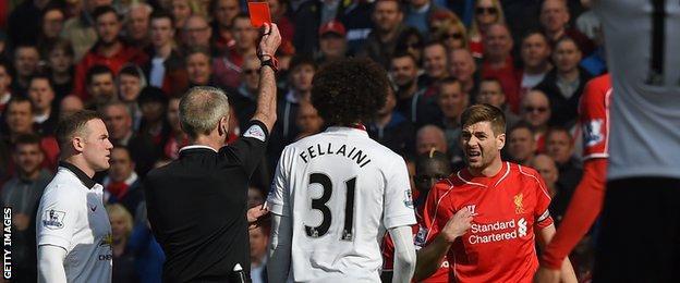 Steven Gerrard sent off
