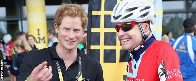 Prince Harry and GB Para-cyclist Jaco van Gass
