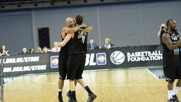 Newcastle Eagles players celebrate after winning the BBL Trophy