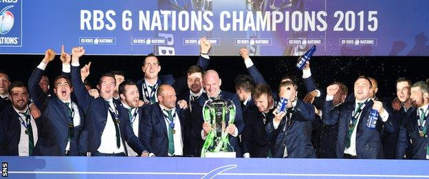 The Ireland players celebrated with the Six Nations trophy after beating Scotland