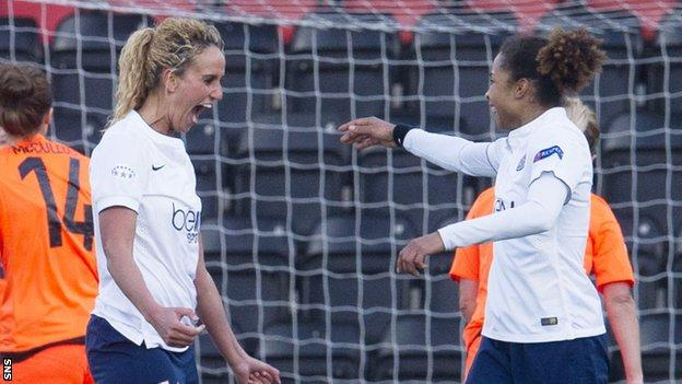 PSG's Kheira Hamraoui (left) celebrates scoring against Glasgow