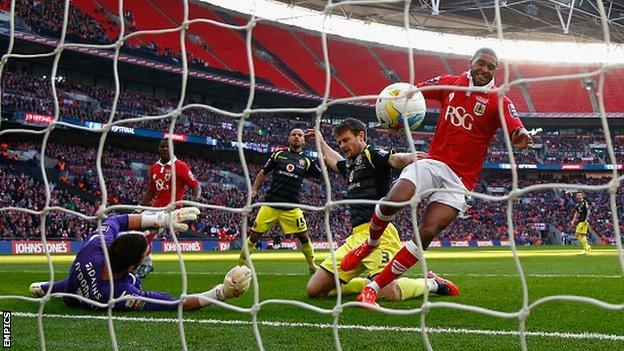 Walsall were finished off at Wembley by Mark Little's early second-half goal