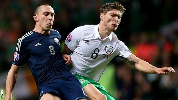 Jeff Hendrick battles with Scotland's Scott Brown during the Euro 2016 qualifier in November