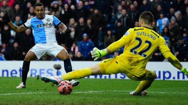 Blackburn's Josh King fires past Jack Butland in Rovers' 4-1 FA Cup fifth round win at Ewood Park