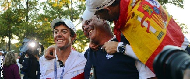 Rory McIlroy and Darren Clarke celebrate winning the 2012 Ryder Cup
