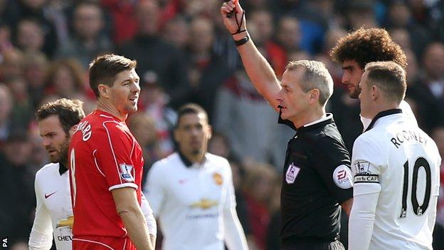 Steven Gerrard is sent off after just 38 seconds in a defeat by Manchester United