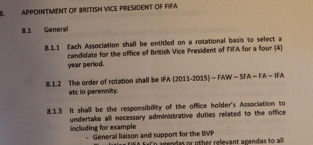 An image of the agreement that FAW president Trefor Lloyd Hughes says the FA has reneged upon