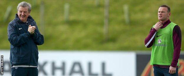 England boss Roy Hodgson with striker Wayne Rooney