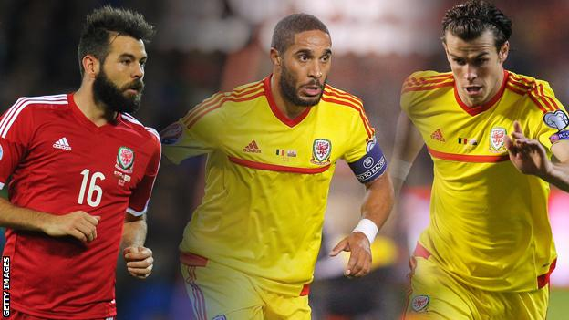 Joe Ledley, Ashley Williams, Gareth Bale of Wales