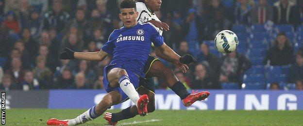 Dominic Solanke scores for Chelsea in their FA Youth Cup semi-final win over Tottenham