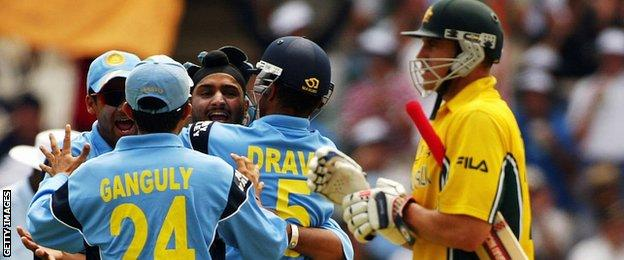 India celebrate a wicket at the 2003 World Cup final