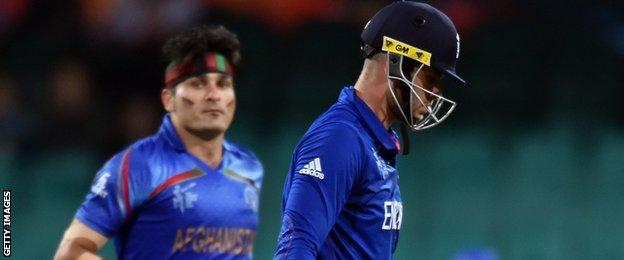 Alex Hales (right) trudges off against Afghanistan after being dismissed by pace bowler Hamid Hassan