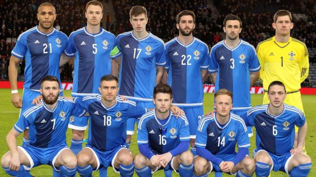 The Northern Ireland team which started against Scotland in the friendly international at Hampden Park
