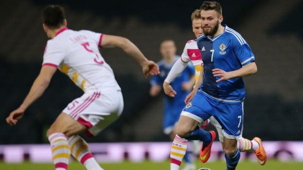Stuart Dallas of Brentford won his second international cap in Northern Ireland's 1-0 defeat by Scotland