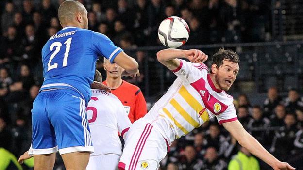 Northern Ireland's Josh Magennis and Gordon Greer of Scotland in action