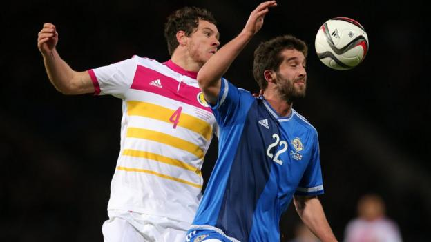 Gordon Greer of Scotland in action against Northern Ireland's Will Grigg during the international challenge match in Glasgow