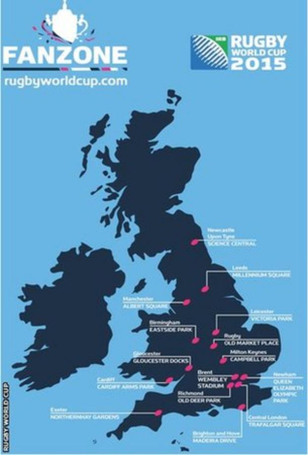 Locations of Rugby World Cup fanzones