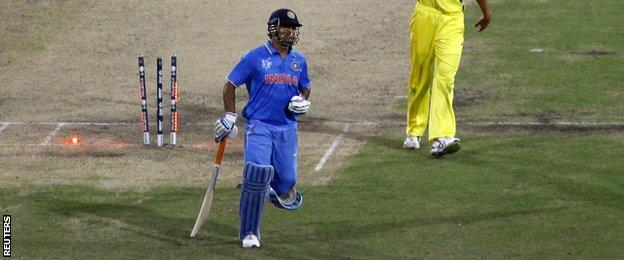 MS Dhoni is run out