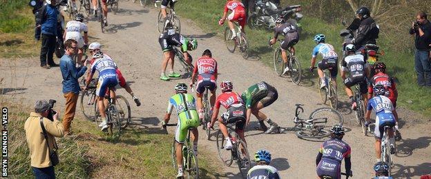 A crash at Paris-Roubaix