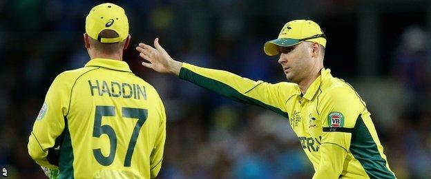 Australia's Brad Haddin and Michael Clarke