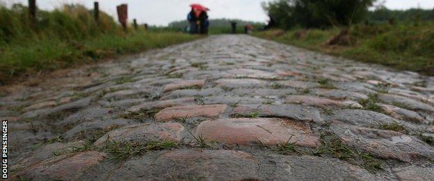 A section of the Paris-Roubaix course