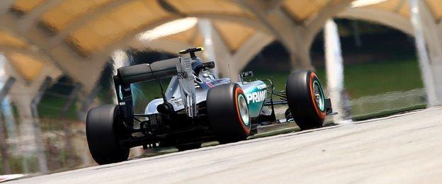 Nico Rosberg was only third fastest in second practice after being fastest in first practice