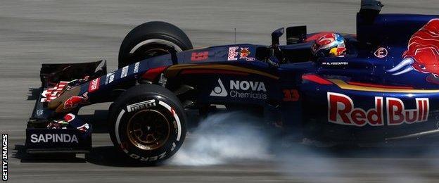Max Verstappen of Toro Rosso locks up during practice