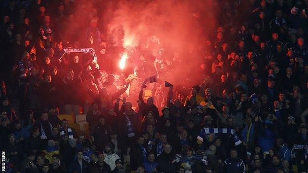 Dynamo Kiev fans start flares during their Europa League win over Everton