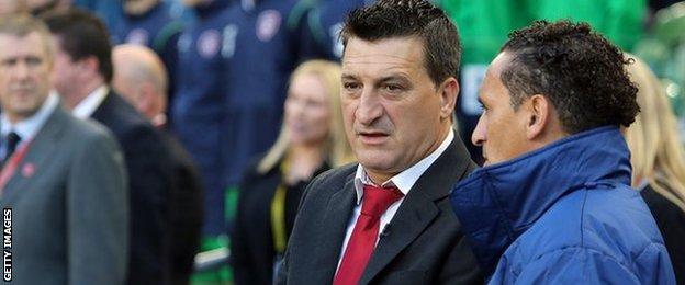 David Wilson (right) has taken over from Allen Bula as Gibraltar manager