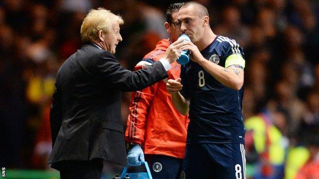 Scotland coach Gordon Strachan and captain Scott Brown