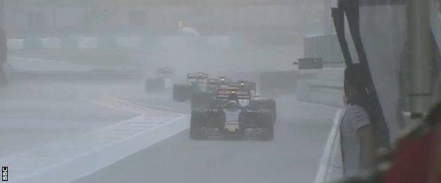 Rain at the Malaysian grand prix