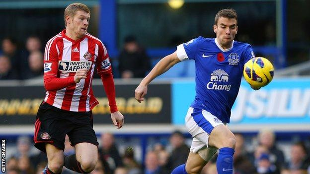 James McClean and Everton's Seamus Coleman during a match at Goodison Park in November 2012