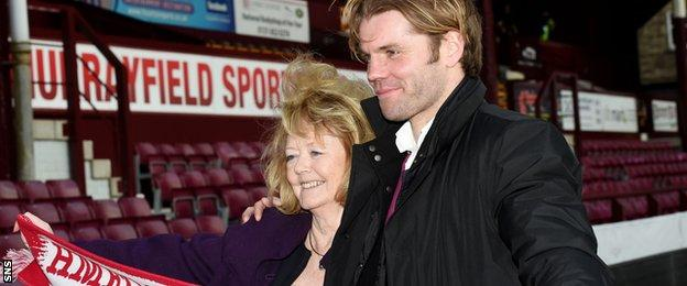 Hearts owner Ann Budge with head coach Robbie Neilson