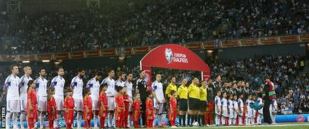 Israel v Wales - the teams line up before the match