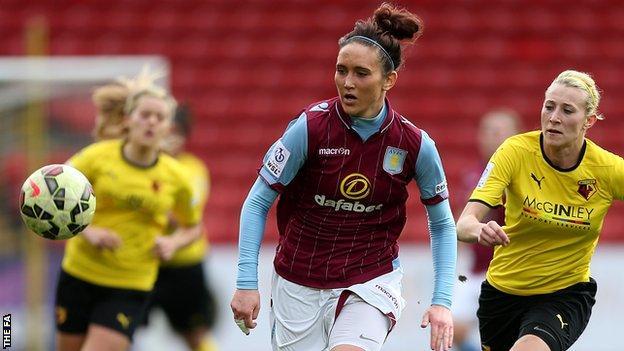 Aston Villa's Emily Owen chases down a ball against Watford