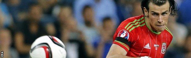 Gareth Bale scoring Wales' second goal