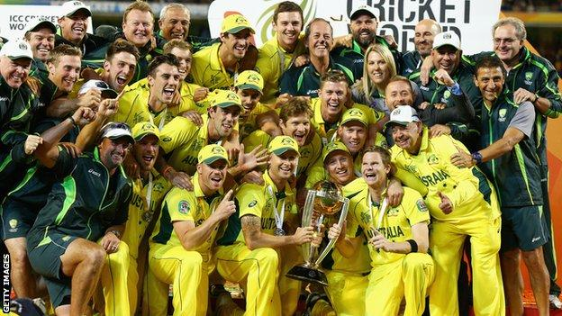 Australia celebrate with Cricket World Cup trophy