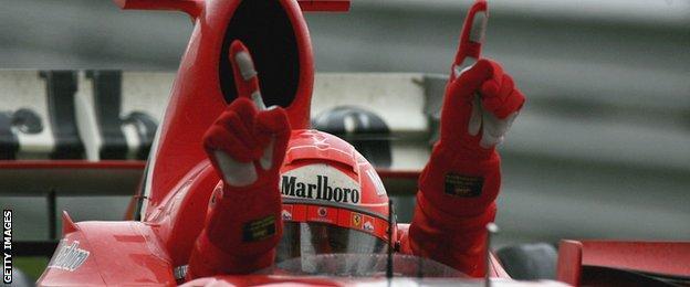 Schumacher celebrating for Ferrari