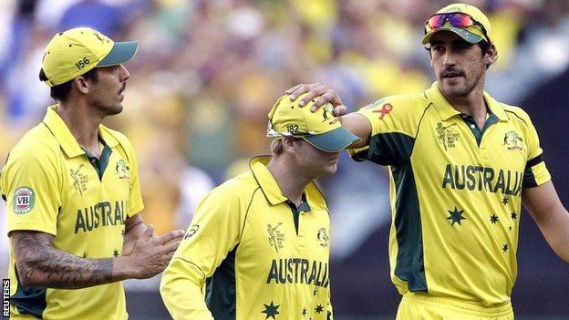 Australia's Mitchell Johnson, Steve Smith and Mitchell Starc