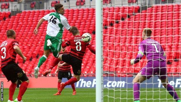 Ryan Kendal heads home the winner for North Ferriby United against Wrexham at Wembley