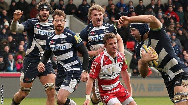Josh Beaumont crosses for Sale's second try against Gloucester