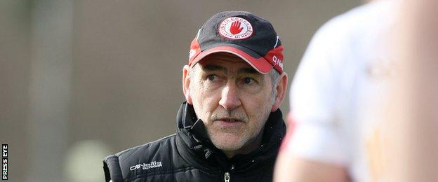 Mickey Harte looks concerned after Tyrone's heavy defeat in Ballybofey