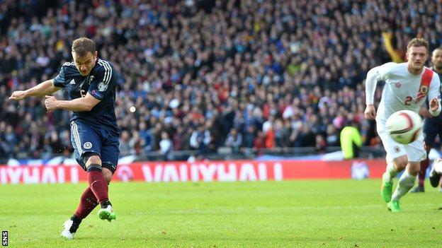 Shaun Maloney scored two first-half penalties for Scotland