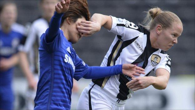 Ji So-Yun of Chelsea Ladies FC and Danielle Buet of Notts County Ladies FC
