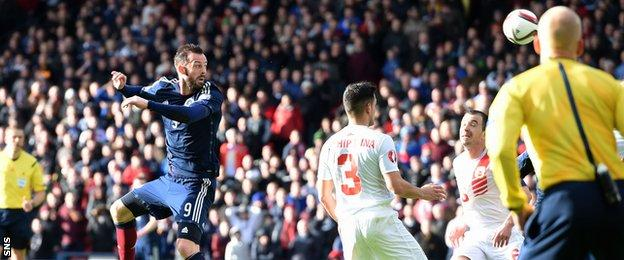 Steven Fletcher scored the first of his hat-trick to restore Scotland's lead