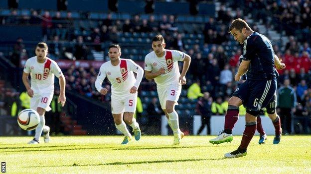 Shaun Maloney scored twice from the penalty spot for Scotland